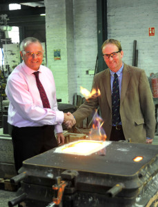 South Lincs Foundry owner David Harriman (left) with South Holland District Council deputy leader Nick Worth